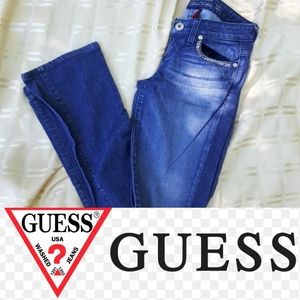 size 24 EUC Guess rhinestones blue jeans